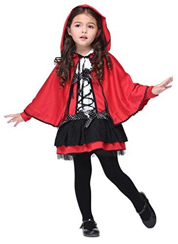 [Woo2u Halloween Cosplay Costume Girls Kids Red Little Devil Stage Dress M] (Middle Eastern Girl Costume)