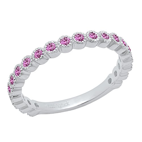 - Dazzlingrock Collection 14K Round Pink Sapphire Eternity Stackable Anniversary Wedding Band, White Gold, Size 7