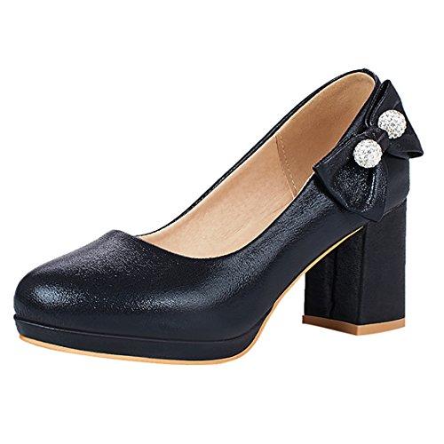Talon Rond Elegantes Bout Compensees A Noir Chaussures Uh Haut aBqn75
