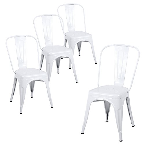 Buschman Set of Four White Tolix-Style Metal Indoor/Outdoor Stackable Chairs with Back