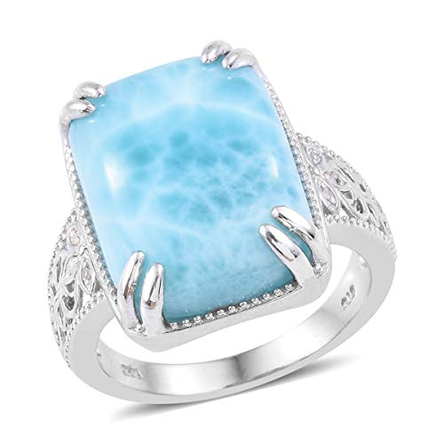 Journey Diamond Fashion Ring - Larimar Diamond Cocktail Ring 925 Sterling Silver Platinum Plated Gift Jewelry for Women Size 7 Cttw 0.1