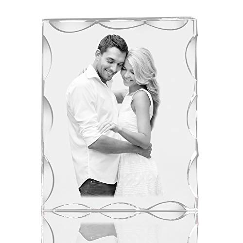 Qianruna Custom Personalized 2D/3D Laser Beveled Crystal Photo Landscape Engraving Etched Gift,Wedding,Anniversary -