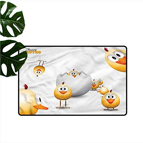 HOMEDD Indoor Doormat,Easter Chicks Funny Cartoon,Super Absorbs Mud,35