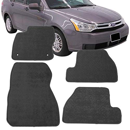 Floor Mats Fits 2011-2015 Ford Focus | Nylon Gray Front Rear Carpet by IKON MOTORSPORTS | 2012 2013 2014 ()