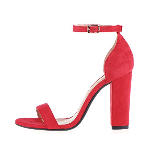 Strappy Ankle Dress Chunky Sandal Office Wedding for Women's Party Shoes Heel Toe Velvet Sandals Strap Evening Red Birthday High Open dRCxInSq4w