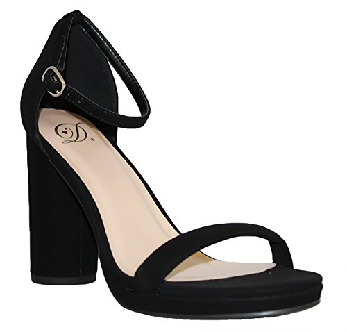 Evening Delicious Women's Open Heels Black High Ankle Pumps Stiletto Nb Strap Toe Casual e Platform 115rq