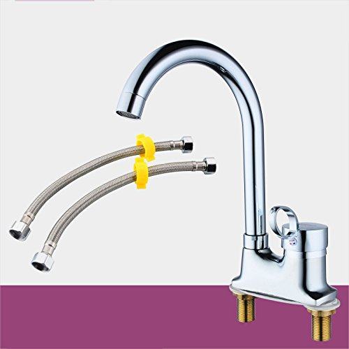 H) Hlluya Professional Sink Mixer Tap Kitchen Faucet Hot and cold two holes can redate the faucet, B