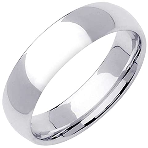 14K White Gold Traditional Classic Men's Comfort Fit Wedding Band (6mm) Size-13c1 - 14k Gold Classic Wedding Band