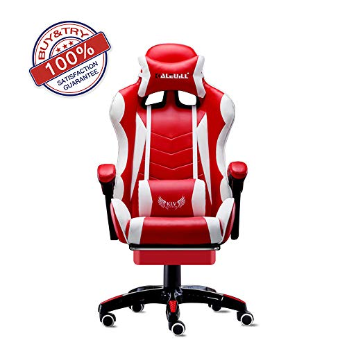 KLV Video Gaming Chair Racing Office-PU Leather High Back Ergonomic 155 Degree Adjustable Swivel Executive Computer Desk Task Large Size with Footrest,Headrest and Lumbar Support, Red/White