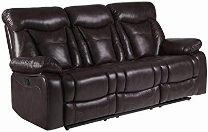 Zimmerman Motion Sofa with Pillow Arms Dark Brown