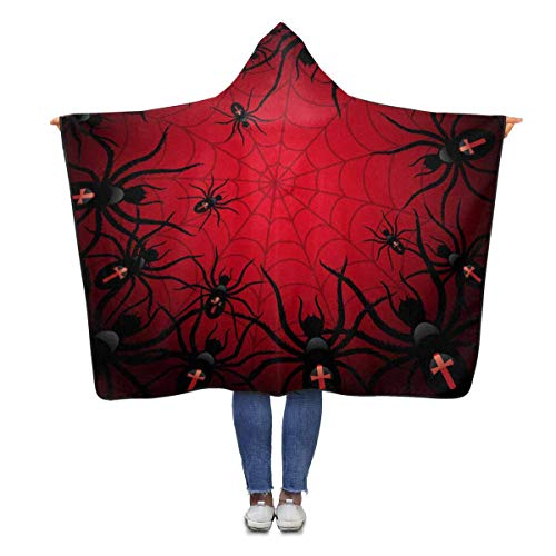 InterestPrint Halloween Spiders Web Throw Blanket 80 x 56 inches Adults Girls Boys Polar Fleece Blankets with Hood (Spider Halloween 56)