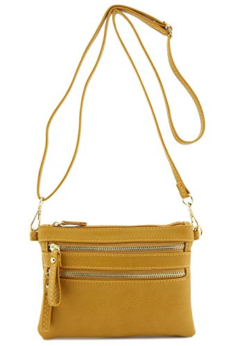 Multi Zipper Pocket Small Wristlet Crossbody Bag ()