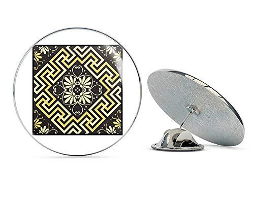 TG Graphics Beautiful Black and Yellow Rhombus Square Striped Swirls Pattern Artwork Metal 0.75