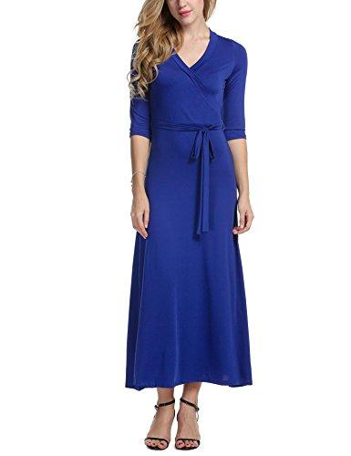 Beyove Women V Neck Wrap Tie Waist Maxi Dress 3/4 Sleeve Floral Full Long Dress