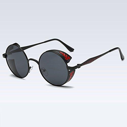 Gafas Sol SEEKSUNG® Brillantes De Polarizadas Sol Punk Large Ms Gafas Sombreadas Round Steam Frame De qPOBqF