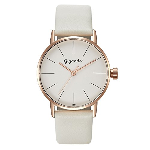 Gigandet Women's Quartz Watch Minimalism Analog Leather Strap Rose Gold White G43-012