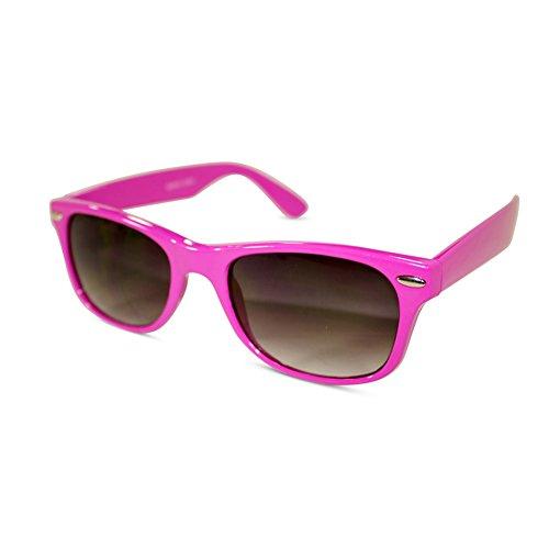 Many Colored Frames* Basic Wayfarer Style Sunglasses w/ Black PC Lens Retro (Pink , - R P Sunglasses