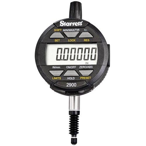 "Starrett 2900-2 LCD Electronic Indicator, 0.375"" Stem Dia., 0-0.5""/0-12mm Range, 0.0001""/0.002mm Graduation"