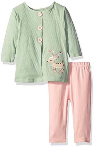 Rene Rofe Baby Girls' 2 Piece Cardigan Set with Legging, Pretty Deer Pistachio, 3-6 Months