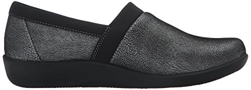 Clarks Womens Cloudsteppers Sillian Blair Slip-on Loafer Argento Nabuk Sintetico