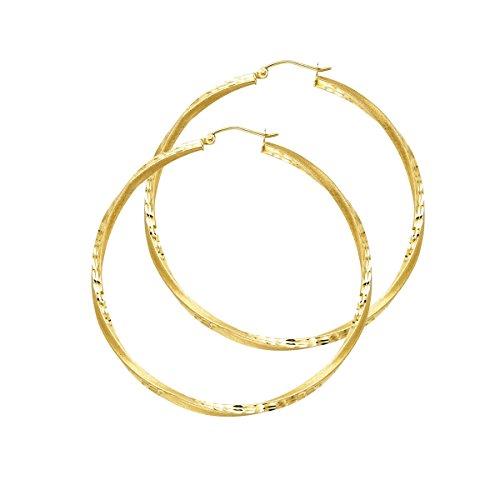 14K Yellow Gold 2.6mm Diamond Cut Satin Hoop Earrings - (Diameter - 45 MM) by Top Gold & Diamond Jewelry