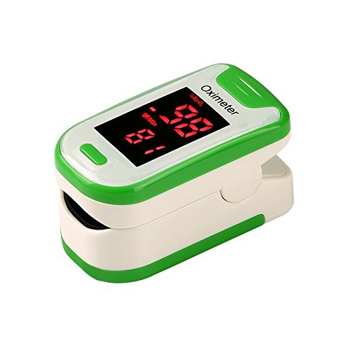 Fingertip Pulse Oximeter Oximetry Blood Oxygen Saturation Monitor with Batteries and Lanyard(Green)
