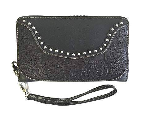 (Montana West Ladies Zippered Wallet Genuine Tooled Leather Black)