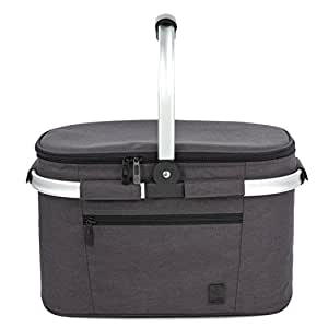ALLCAMP Large Size Insulated cooler bag Folding Collapsible 22L Picnic Basket Cooler with Sewn in Frame (black)