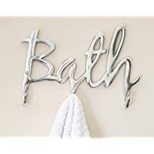 "Comfify Modern Style ""Bath"" Wall Mount Towel Holder and Robe Hook by Hand-Cast Aluminum Bathroom Hanger Decor w/3 Hooks for Towels, Robes, Clothing 