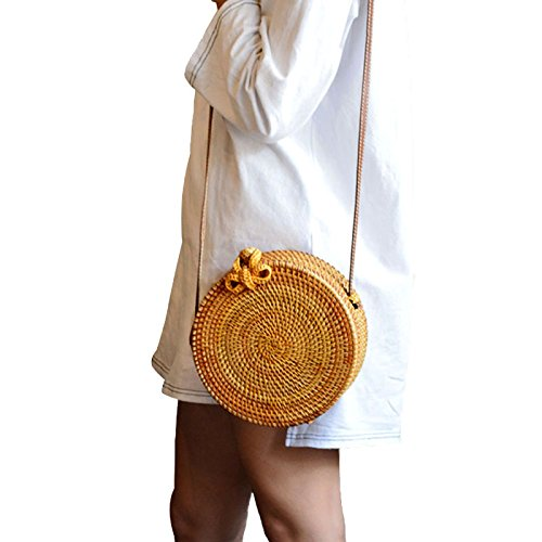 Straw Crossbody Bag, Vintage Handwoven Round Ata Rattan Shoulder Bag Straw Purse with Bow Clasp by KNUS (Image #4)