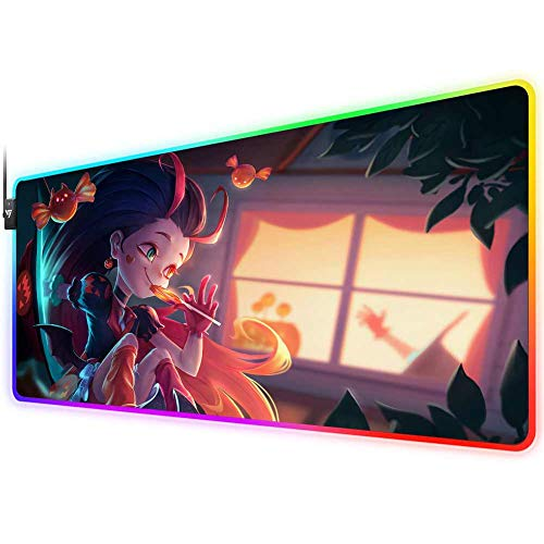 RGB Gaming Mouse Pad for League of Legends,LED Soft Extra Extended Large Mouse Pad,Anti-Slip Rubber Base,Computer Keyboard Mouse Mat 31.5 X 12 Inch(Bewitching Zoe)