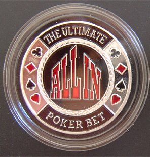 (MRC Poker Hand Painted Poker Card Guard Protector - All In Silver)