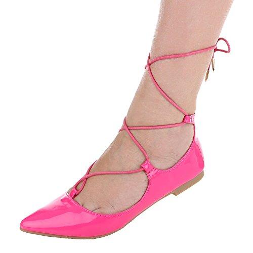 Ital-Design Komfort Pumps Damenschuhe Geschlossen Blockabsatz Blockabsatz  Schnürsenkel Pumps Pink XY01