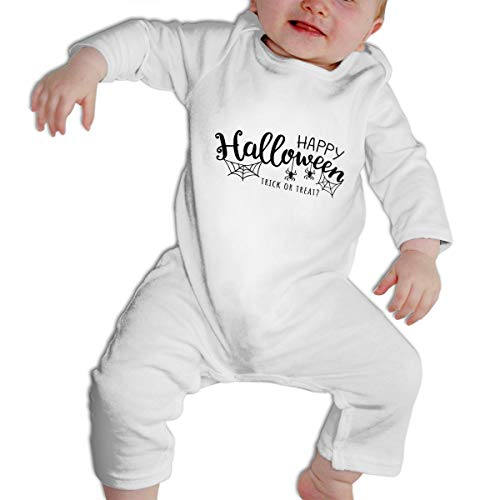 SWEETIE Happy Halloween Trick Treat with Web and Spider Baby Long Sleeve Infant Bodysuit Romper for 6-24months -