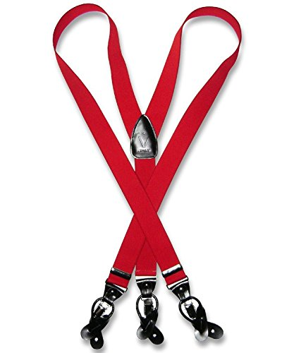 Men's RED SUSPENDERS Y Shape Back Elastic Button & Clip Convertible