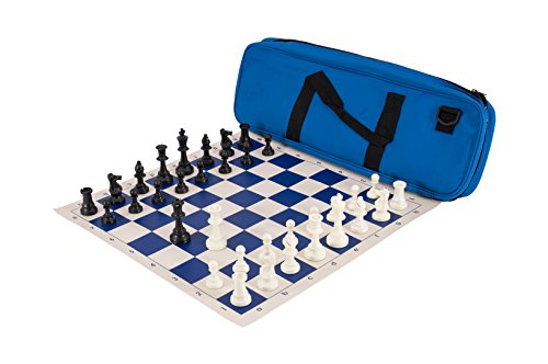 Deluxe Chess Set Combination   Triple Weighted   By Us Chess Federation  Royal Blue