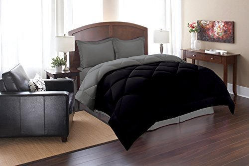 3pc Comforter Set, Full/Queen, Black/Gray