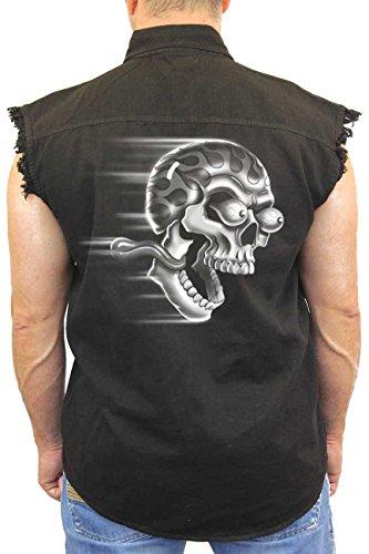 Men's Sleeveless Denim Shirt White Flame Skull Shut Up & (Flame Skull Button Down Shirt)