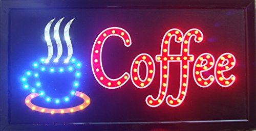 CHENXI Led Open Coffee Led Neon Business Motion Light Sign On/off with Chain 48 X25 CM Indoor Use Only (48 X 25 CM, A) (Indoor Neon Sign)