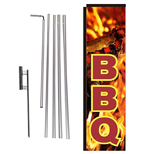 - BBQ Barbecue Rectangle Feather Banner Flag with Pole Kit and Ground Spike for Restaurants, Markets, Business Owners