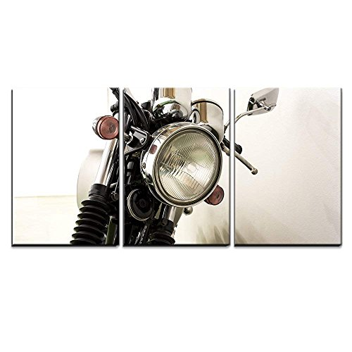 wall26 - 3 Piece Canvas Wall Art - Vintage Motorcycle Detail - Modern Home Decor Stretched and Framed Ready to Hang - 16