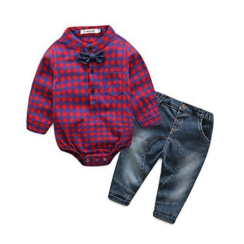 - Krastal Baby Boy Clothes Long Sleeve Romper +Jean Gentleman Autumn Romper Festival Baby Bodysuits