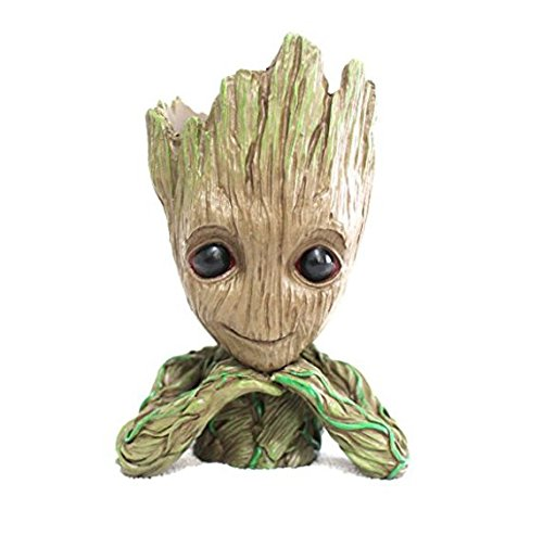 Pinsjar 15cm Kawaii Polyresin Flowerpot Tree Baby Groot Succulent Planter Cute Green Plants Flower Pot with Hole Pen Pot Best New Year Gifts For Kids