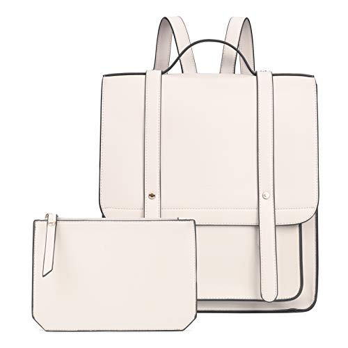 (ECOSUSI Women Briefcase Laptop Backpack PU Leather Satchel Messenger Bag Fits up to 14 Inch Laptops with Small Purse, White)