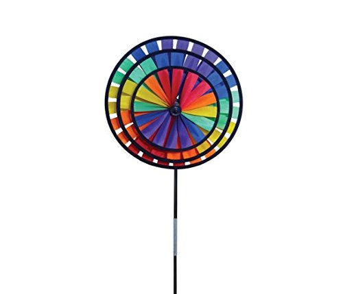 Mossun Bestseller Rainbow Triple Wheel Spinner- Ground Stake Included - Colorful Wind Spinner for your Yard and Garden