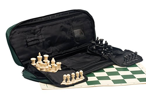 (The House of Staunton Deluxe Chess Set Combination - Single Weighted Chess Pieces | Vinyl Chess Board | Deluxe Bag)