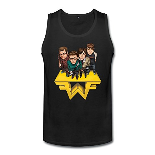 TBTJ Men's Weezer Logo Tank Top Black Large (Buddy Holly Merchandise compare prices)