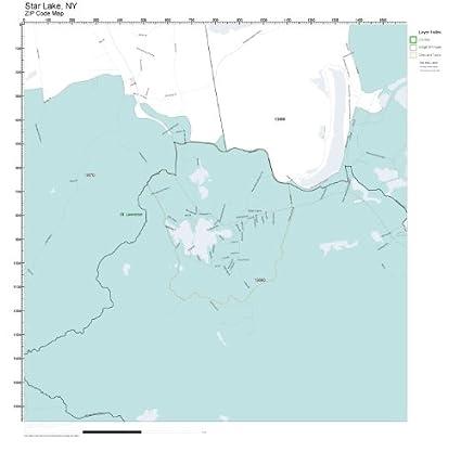 Amazon Com Zip Code Wall Map Of Star Lake Ny Zip Code Map