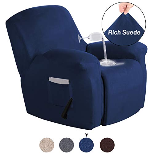 Turquoize Recliner Chair Cover Velvet Suede Sofa Cover Stretch Recliner Slipcover for Large Recliner Living Room Furniture Protector with Elastic Bottom 1 Piece Recliner Cover (Recliner, Navy) (Furniture Room Navy Living)