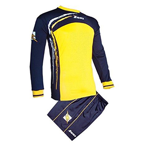 Zeus Herren Kinder Set Trikot Shirt Hosen Klein Armel Kit Fußball Hallenfußball Kit CORKY BLAU GELB (XL)